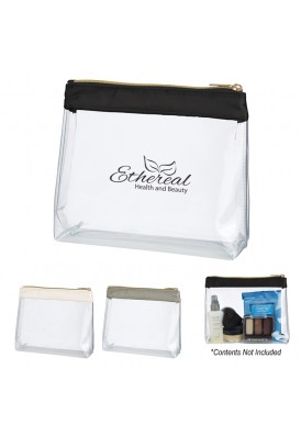 Clear Vinyl Pouch with Satin Trim Gold Zipper