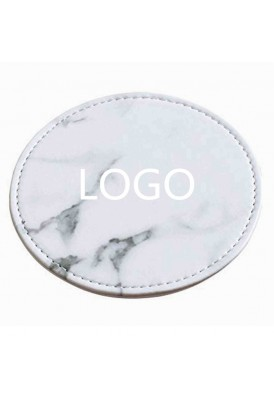 Marble Designer Leather Coasters Set of 6 with Holder