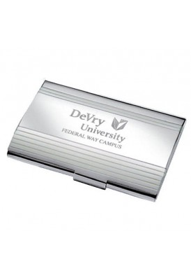 Silver Ribbed Business Card Holder