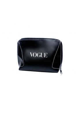Black Leatherette Zippered 3 Sides Amenities Case