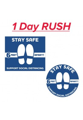24 Hour Rush COVID-19 Floor Social Distancing Decal 12x14 Inch Rectangle or Round Shape