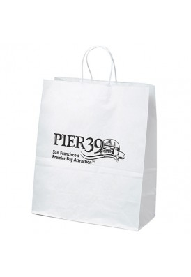 Kraft White Shopper Tote Vertical 15.75 Tall