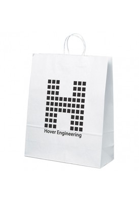 Kraft White Shopper Tote Vertical 19.25 Tall
