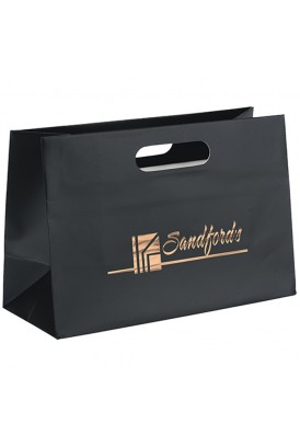 Premium Weight Matte Retail Tote with Die Cut Handles Horizontal 12 Wide