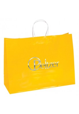 Colored Glossy Paper Foil Imprint Tote Horizontal 16 Wide