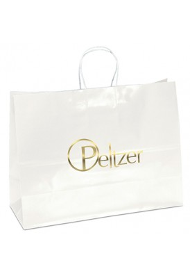 White Glossy Paper Foil Imprint Tote Horizontal 16 Wide