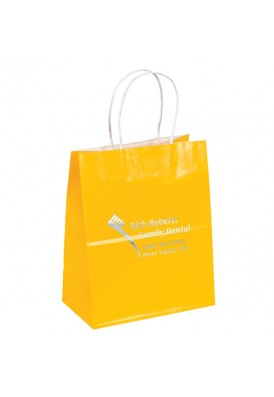 Colored Glossy Paper Foil Imprint Tote Vertical 9.75 Tall