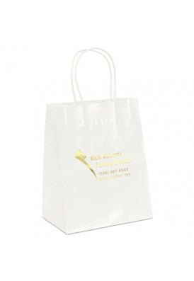 White Glossy Paper Foil Imprint Tote Vertical 9.75 Tall