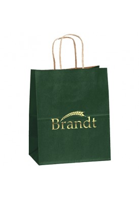 Kraft Colored Paper Foil Imprint Tote Vertical 9.75 Tall
