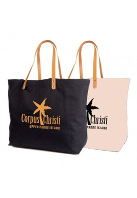 Resort Canvas Tote Bag with Leather Straps