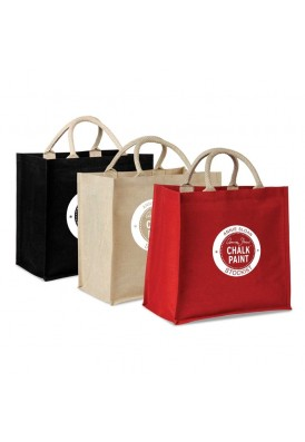 Designer Jute and Cotton Laminated Tote Bag with Cotton Handles