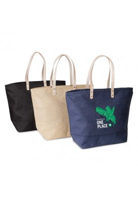 Resort Totes in Laminated Jute and Leather