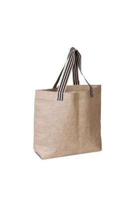 Laminated Beach Style Jute and Burlap Tote