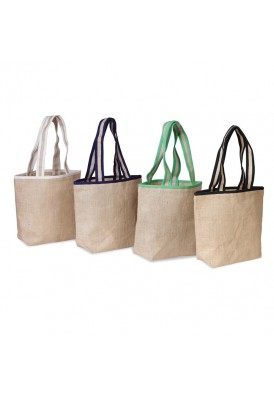 Laminated Jute Gift Tote with Accent Handles