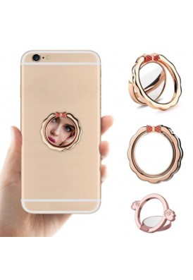 Combo Mirror and Cell Phone Ring Stand and Finger Grip