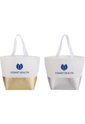 Metallic Gold or Silver Bottom Polypro Nonwoven Tote