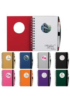 Full Color Die Cut Window Hard Cover 5 x 7 Notebook Circle