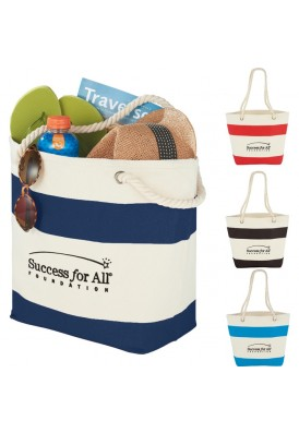 Custom Nautical Stripes Tote with Rope Handles