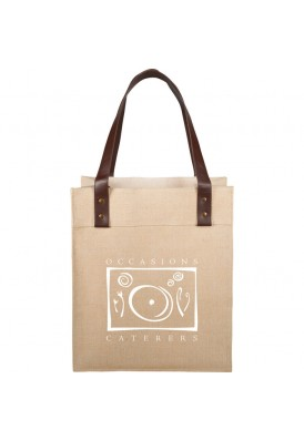 Large Jute Tote with Leatherette Straps