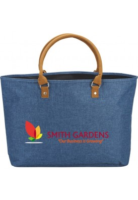 Designer Denim Chambray Tote with Leatherette Handles