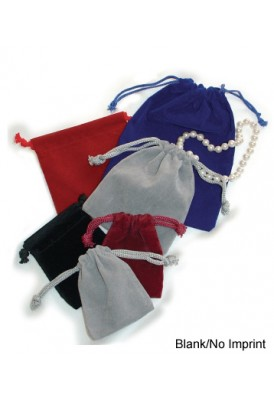 Blank Velour Drawstring Pouches Medium 4x5.5