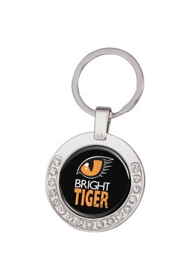 Jeweled Bling Silver Key Chain with Full Color Imprint