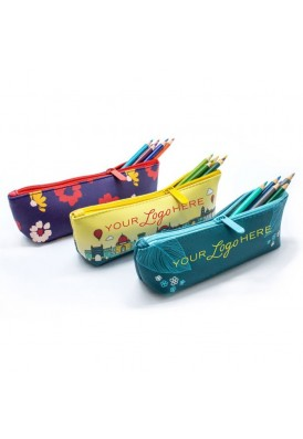 Premium Thick Vegan Leather Pencil Pouch in Full Color Printing with Strap