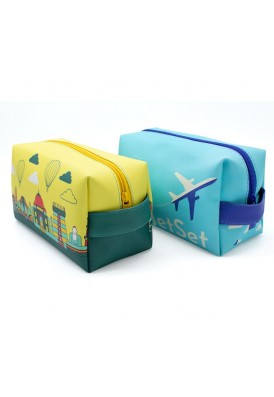 Premium Thick Leatherette Vegan Leather Dopp Kit Travel Bag in Full Color Printing with Strap