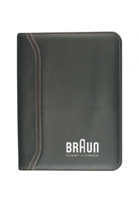 Detailed Stitching Cover Zippered Portfolio