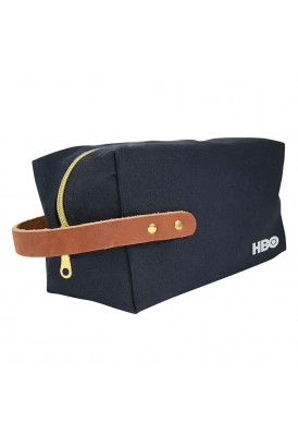 Black Canvas with Leather Strap Dopp Kit