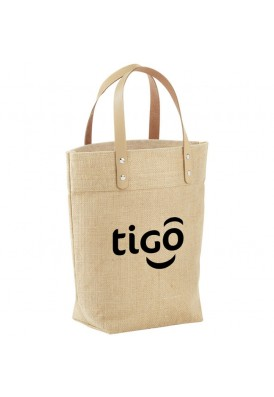 Jute Tote Bag with Leather Handle Straps
