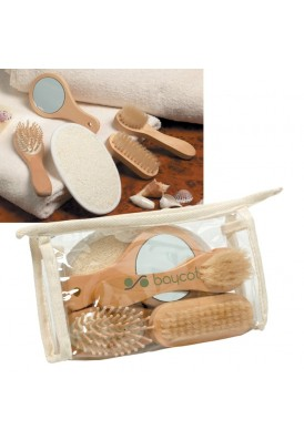 Spa Bath Kit 5 Piece with Mirror Scrubber and Clear Pouch Packaging