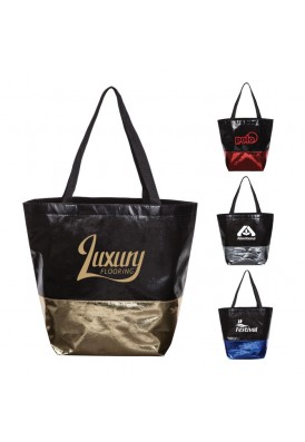 Foldable PolyPro Metallic Accented NonWoven Tote Bag