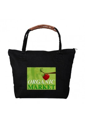 Heavyweight 14 Oz Black Cotton Zippered Tote with Enhance Handles
