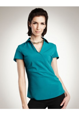 Emily Faux Wrap Short Sleeve Shirt