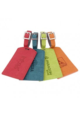 Colored Textured Faux Suede Luggage Tag
