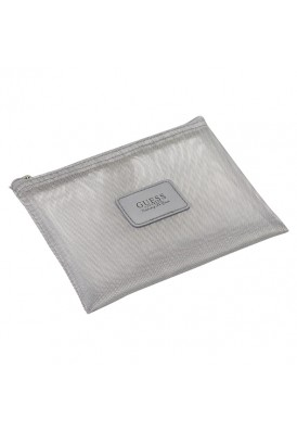 Custom Printed Designer Silver Mesh Zippered Pouch