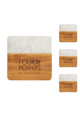 Designer Two-Tone Marble and Natural Bamboo Set of 4 Coasters