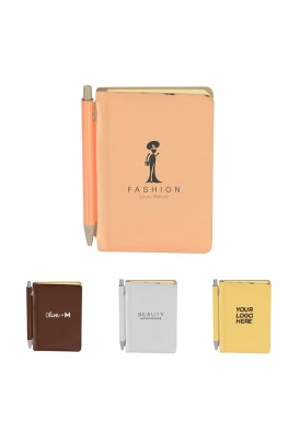 Rose Gold and Metallic Chrome Journal Book with Matching Pen