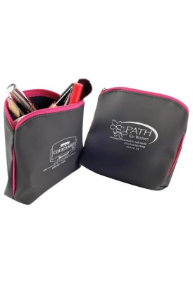 Dark Gray Pouch with Pink Trim